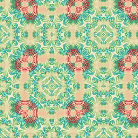 Peach and Seagreens Swirl fabric by eclectic_house on Spoonflower - custom fabric