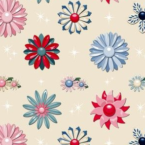 Jackie (Neutral/Red/Blue) || flower floral garden vintage 60s 70s enamel brooch pin vector illustration star starburst atomic