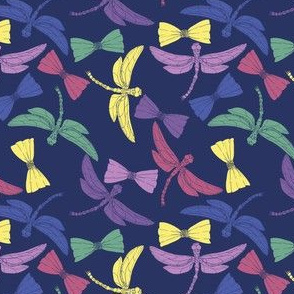 Dragonflies and Bows (navy)
