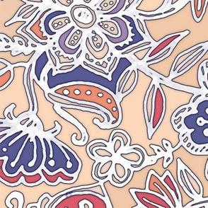 Peach & Purple Floral Doodle