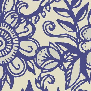 Ditsy Doodle Floral in Indigo Navy & Cream large print