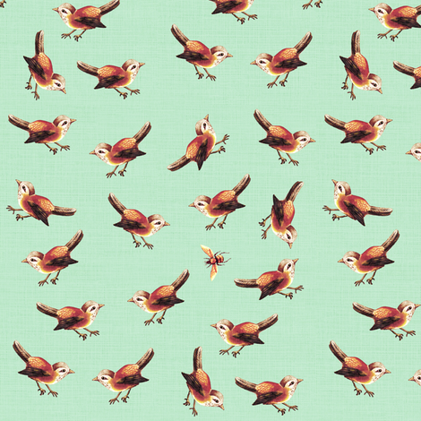 Chestnut Bird and Bee on Soft Green fabric by thistleandfox on Spoonflower - custom fabric