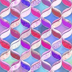 Patchwork Ribbon Ogee Pattern - purple, magenta, blue