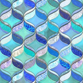 Patchwork Ribbon Ogee Pattern in Blues & Greens