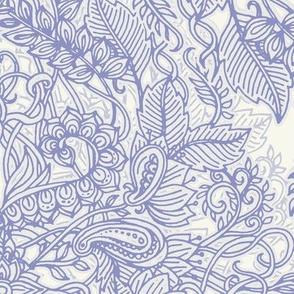 Lavender & Cream Art Nouveau Doodle Pattern