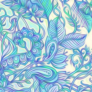 Aqua, Lavender, Purple & Cream Art Nouveau Pattern