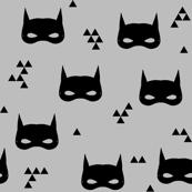 bat mask // grey super hero kids baby black and white nursery