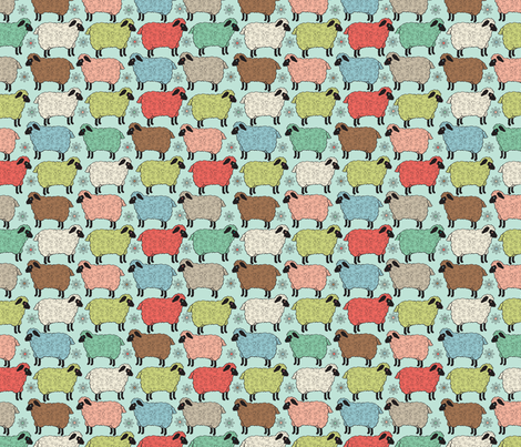 Sheep_in_the_Field fabric by laura_mooney on Spoonflower - custom fabric