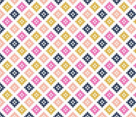 southwest mustard magenta peach mustard navy design fabric by charlottewinter on Spoonflower - custom fabric