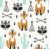 southwest baby design teepee fox raccoon arrows cactus trendy