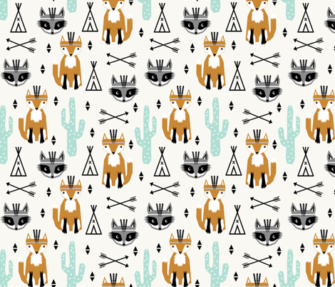 southwest baby design teepee fox raccoon arrows cactus trendy fabric by charlottewinter on Spoonflower - custom fabric