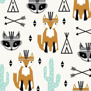 southwest baby design teepee fox raccoon arrows cactus trendy