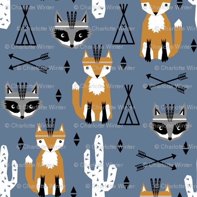 southwest baby animals blue teepee arrows fox raccoon design for trendy kids