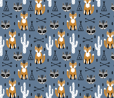 southwest baby animals blue teepee arrows fox raccoon design for trendy kids fabric by charlottewinter on Spoonflower - custom fabric