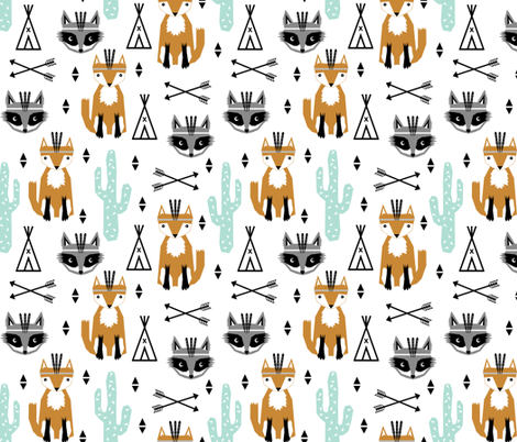 southwest baby black and white minimal trendy baby design featuring cactus raccoon teepee arrows tri fox  fabric by charlottewinter on Spoonflower - custom fabric