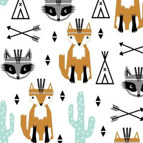 southwest baby black and white minimal trendy baby design featuring cactus raccoon teepee arrows tri fox