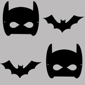 grey bat and superhero bat mask design in trendy  minimal greyscale