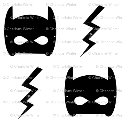 bat mask and bolt white superhero kids design