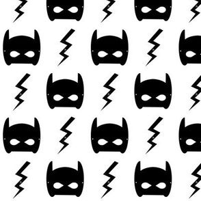 bat mask and bolt white superhero kids design