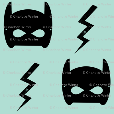bat and bolt mint trendy superhero design for kids