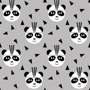 panda with feathers grey black and white minimal baby southwest aztec for baby and kids leggings nursery decor and trendy kids