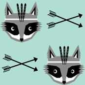 feather raccoon mint southwest arrow feathers tribal design for baby nursery swedish scandi style for hip kids