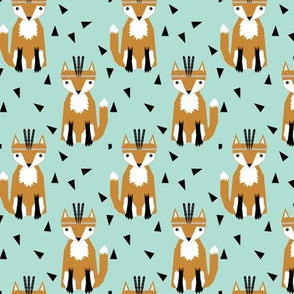 southwest fox with mint triangles hipster trendy baby design for southwest nursery and baby leggings