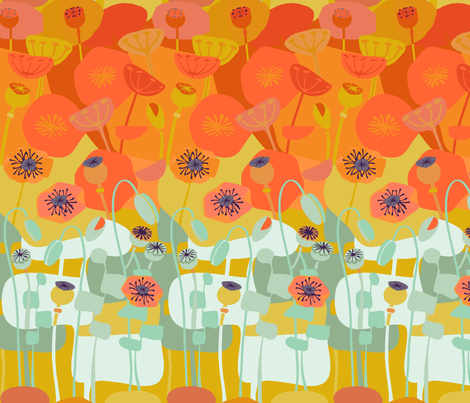 Poppies-Continuous Orange fabric by wren_leyland on Spoonflower - custom fabric
