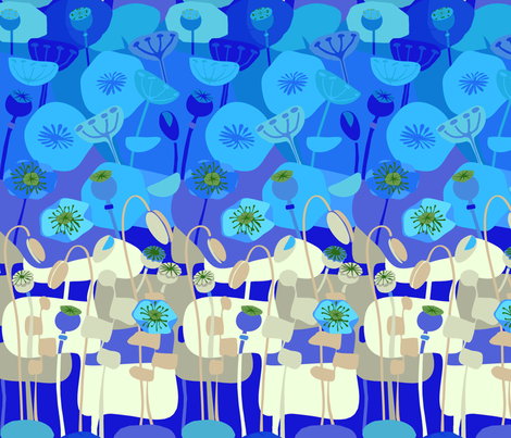 Poppies- Continuous Blue fabric by wren_leyland on Spoonflower - custom fabric