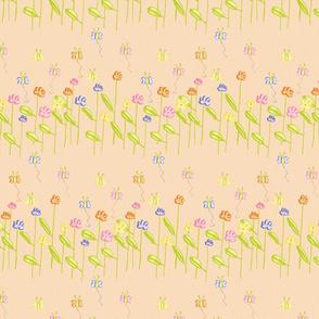 Fluttering Among the Flowers - Orange