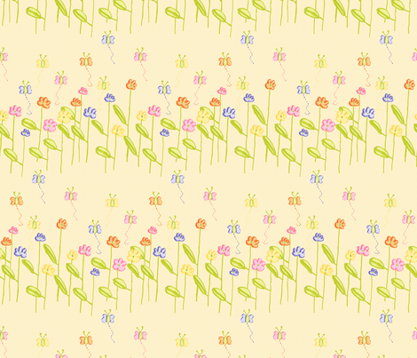 Fluttering Among the Flowers - Yellow fabric by little_dove on Spoonflower - custom fabric
