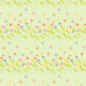 Fluttering Among the Flowers - Green