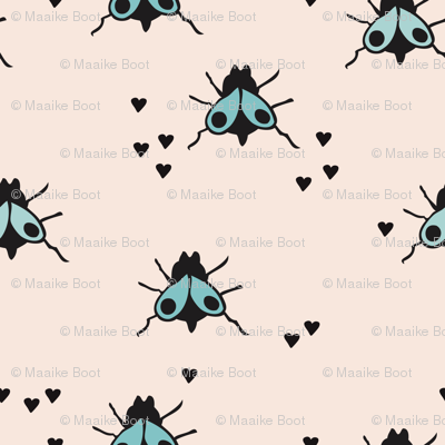 Funny summer creatures cute little bugs and insects illustration blue fly pattern print