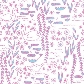 Swan Park in cotton candy (pink/turquoise)