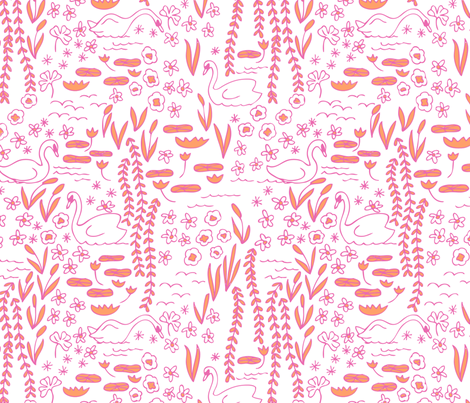 Swan Park in hothouse (pink/orange) fabric by domesticate on Spoonflower - custom fabric