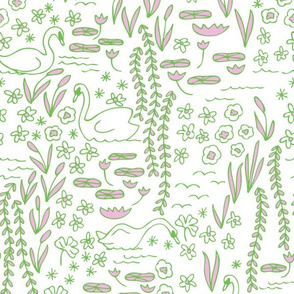 Swan Park in lily (pink/green)