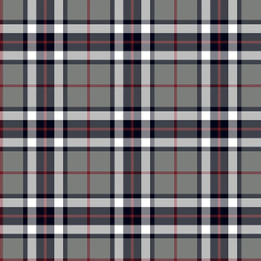 Thomson / Thompson tartan - grey & burgundy