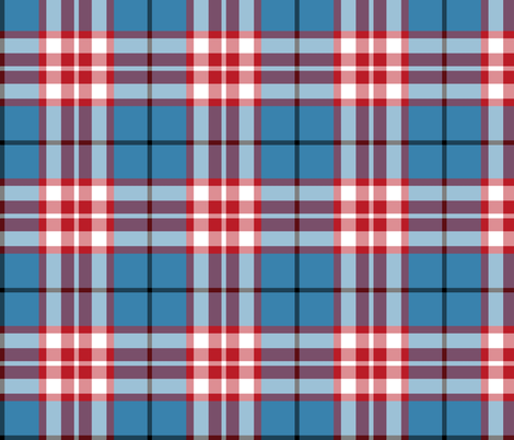Thomson / Thompson tartan - red on blue fabric by weavingmajor on Spoonflower - custom fabric