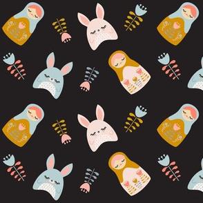 Bunnies & Nesting Dolls Black