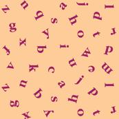 alphabet in peach and raspberry