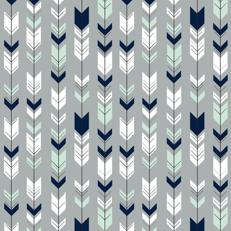 Fletching Arrows (extra small scale) // Northern lights fabric by littlearrowdesign on Spoonflower - custom fabric