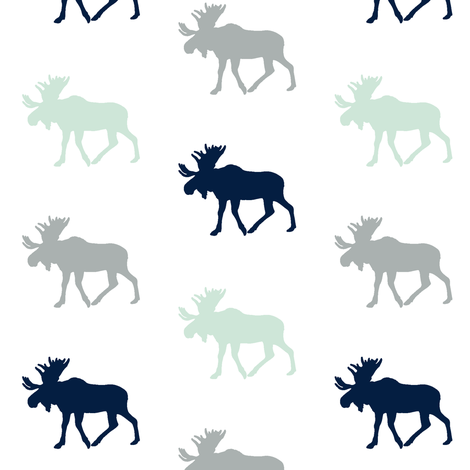 Multi Moose (small scale) // Northern Lights fabric by littlearrowdesign on Spoonflower - custom fabric