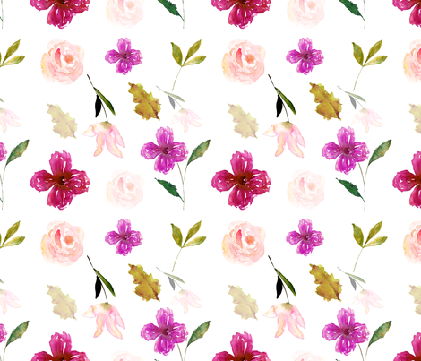 Beautiful Pink Watercolor Floral fabric by peacefuldreams on Spoonflower - custom fabric