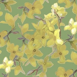 Forsythia on Muted Green Tone