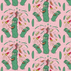 Pickle Boy and the Sandwiches, small scale, pink green