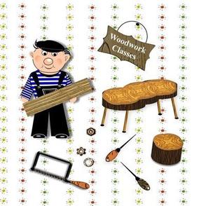 Woodwork Classes Retro Wood Shop Themed