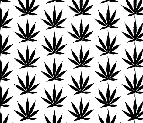 Black&White cannabis leaf fabric by susiprint on Spoonflower - custom fabric