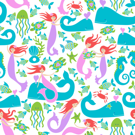 Come along and swim the ocean blue fabric by vo_aka_virginiao on Spoonflower - custom fabric