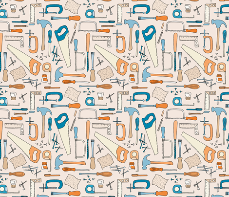 Tools Drawing on peach fabric by seesawboomerang on Spoonflower - custom fabric