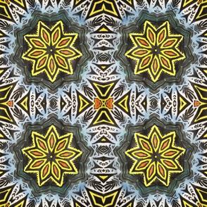 Yellow-flower geometric pattern